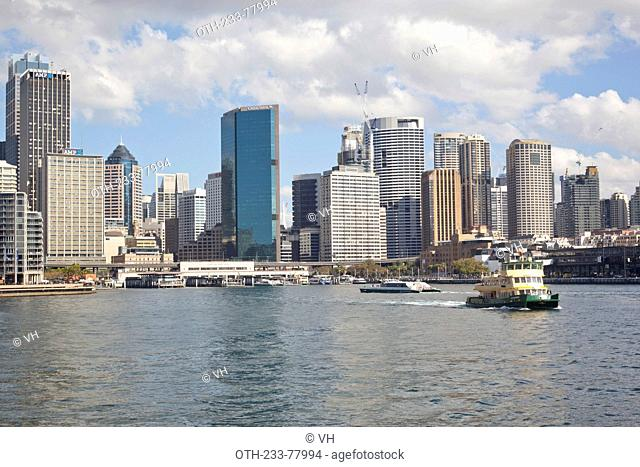 Circular Quay skyline and ferry quays on the northern edge of Sydney business district, Sydney, New South Wales, Australia