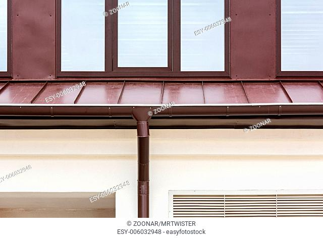 Rain gutter on a home
