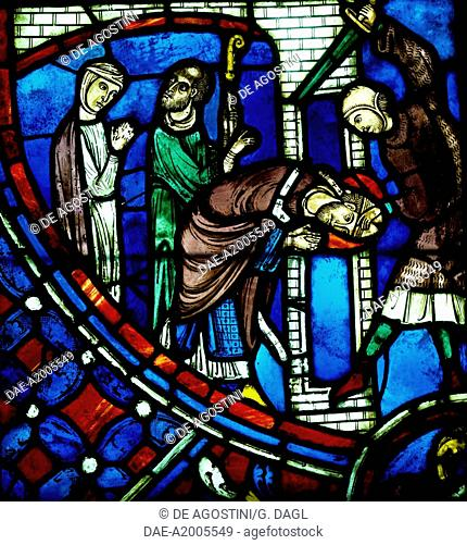 The Martyrdom of St Nicasius decapitated by a Vandal, scene from History of St Nicasius and his sister St Eutropia, 1210-1220, stained-glass, Soissons Cathedral