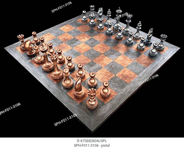 Chess board and pieces, computer illustration