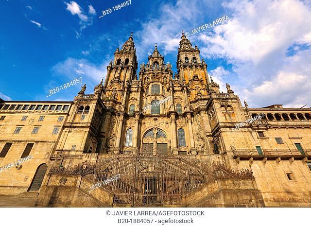 Cathedral, Praza do Obradoiro, Santiago de Compostela, A Coruña province, Galicia, Spain