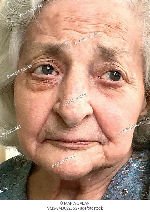 Portrait of old lady. Close view