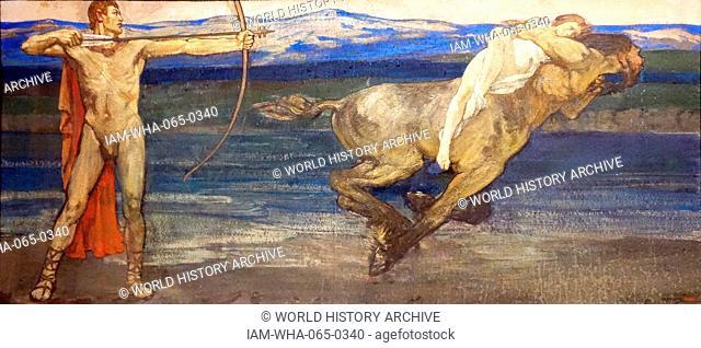 Hercules and Deianira 1893, oil on cardboard by Gerald Edward Moira (London 1867 - Northwood 1959)