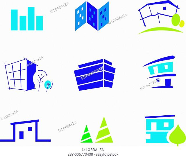 Real estate, architecture and nature icons and symbols - blue and green