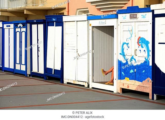 France, Nord, beach hut of Wimereux