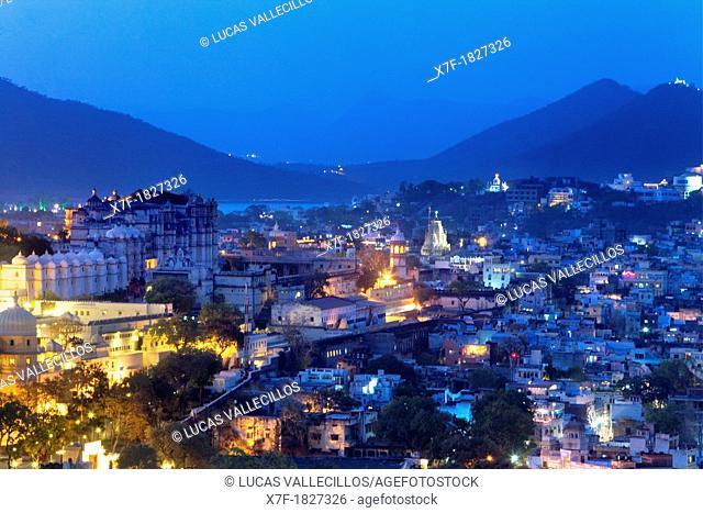 City Palace and skyline of Udaipur,Udaipur, Rajasthan, india