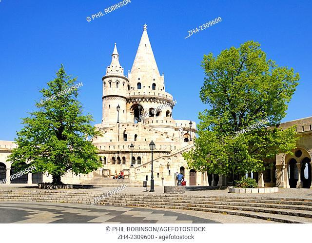 Budapest, Hungary. Fishermen's Bastion (Halaszbastya; 1905) on Castle Hill (Varhegy)