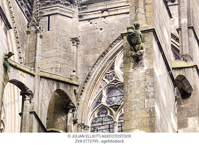 Gargoyles on the cathedral in Le Mans, France