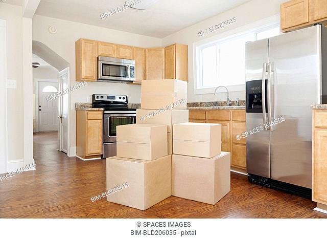 Boxes and cartons stacked in a house