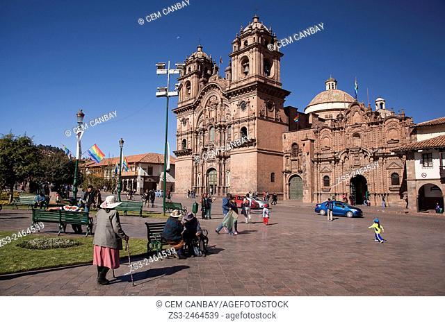 View to the Plaza de Armas with La Compania Church at the background, Cuzco, Peru, South America