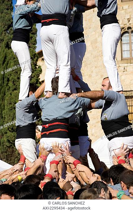 Castellers, Human Towers, In Sant Cugat Del Valles, Near To Barcelona. Catalonia, Spain