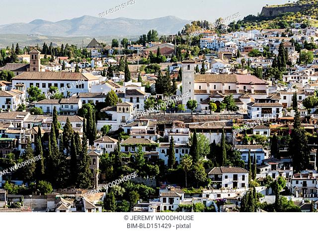 Village on hillside, Granada, Andalusia, Spain