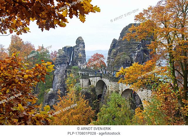 Bastei Bridge / Basteibrücke above the Elbe River in the Elbe Sandstone Mountains in autumn, Saxon Switzerland National Park, Saxony, Germany