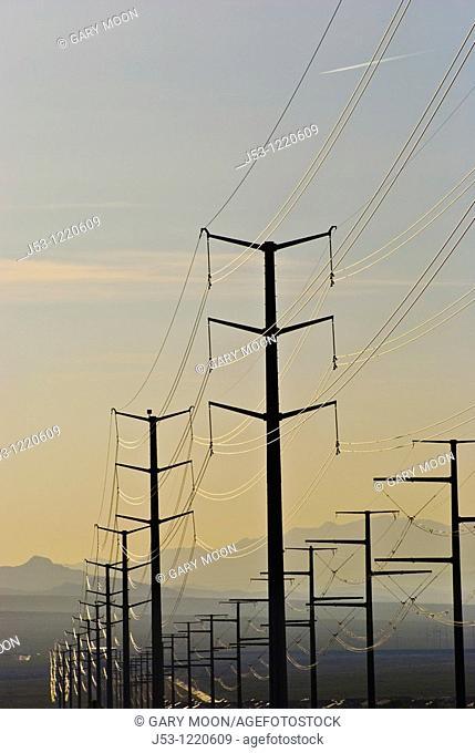 High Voltage Electricity Transmission Lines in Nevada Desert