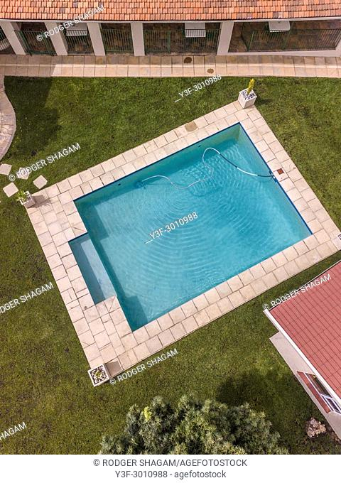 Swimmimg pool. From high above, looking down on the clear, clean water. Johannesburg, South Africa