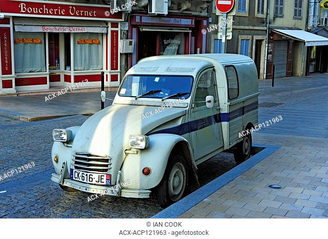 parked Citroen 2CV van, Condom, Gers Department, New Aquitaine, France