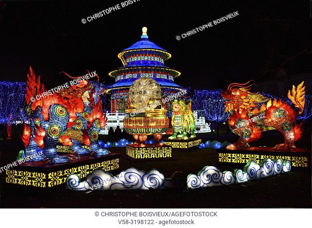 France, Tarn, Gaillac, Festival des lanternes (Chinese Lantern Festival), Qilin, mythical animals, half dragon, half lion, and temple of Sky
