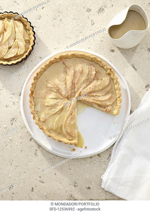 Pear and caramel tart