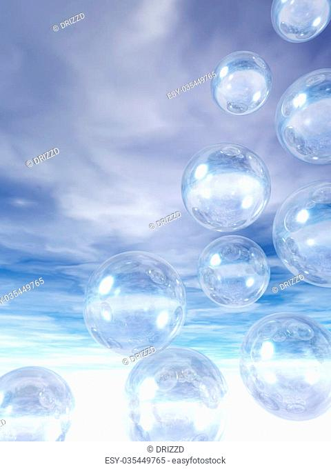 flying glass balls on a blue sky - 3d illustration