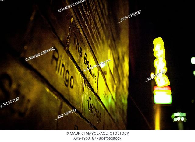 Ringo and The Beatles, Close up of inscription in bricklayer's wall of fame, Liverpool, UK