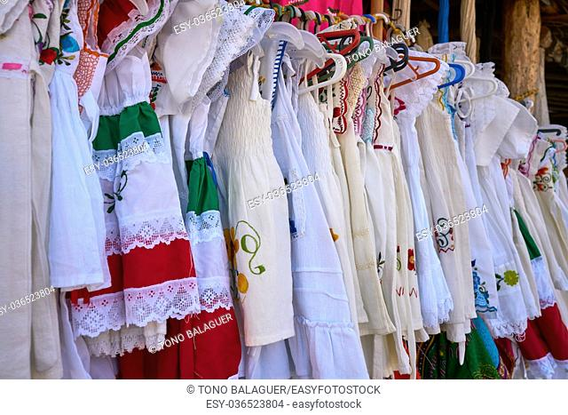 Embroidered Mayan dresses in Mexico Riviera Maya