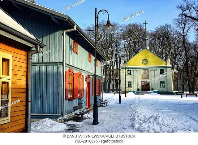Winter scene, Open-air Museum of regional Wooden Architecture - integral part of Central Museum of Textiles, located on main artery of Lodz - Piotrkowska Street