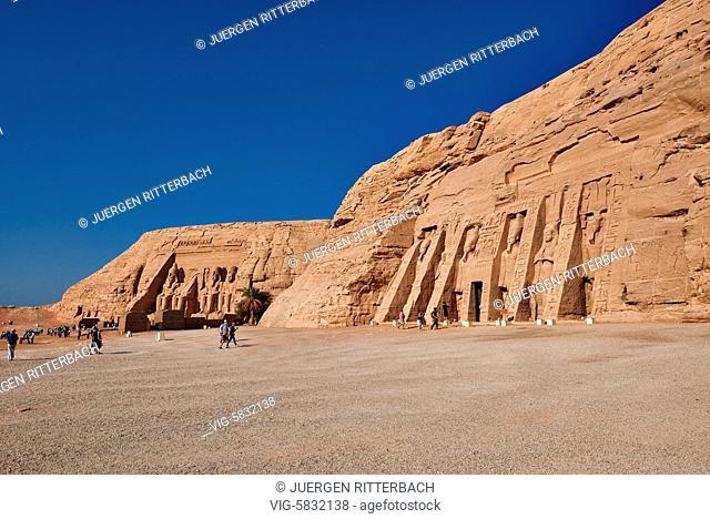 EGYPT, ABU SIMBEL, 11.11.2016, Temple of Nefertari and Great Temple of Ramesses II behind , Abu Simbel temples, Egypt, Africa - Abu Simbel, Egypt, 11/11/2016