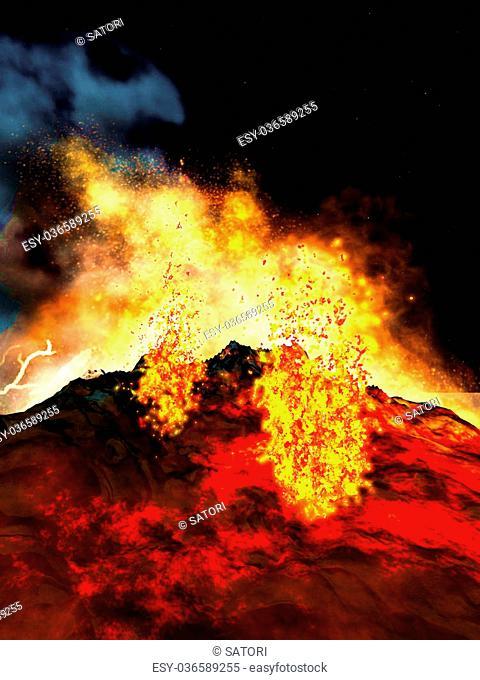 Huge volcanic eruption on land at night