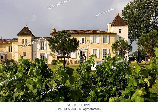 France, Gironde, Saint Emilion, Bordelais vineyard, the Wine-producing Chateau Clos des Jacobins, the Chateau du Parc Saint Emilion AOC, Great listed Growth