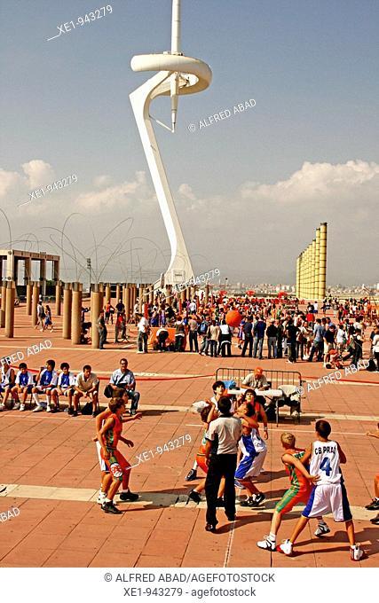 School basketball tournament, Anillo Olimpico de Montjuic, Barcelona, Catalonia, Spain