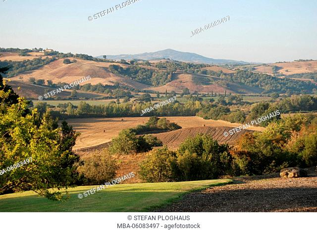 hilly landscape close Cinigiano in the late summer, Maremma, Italy