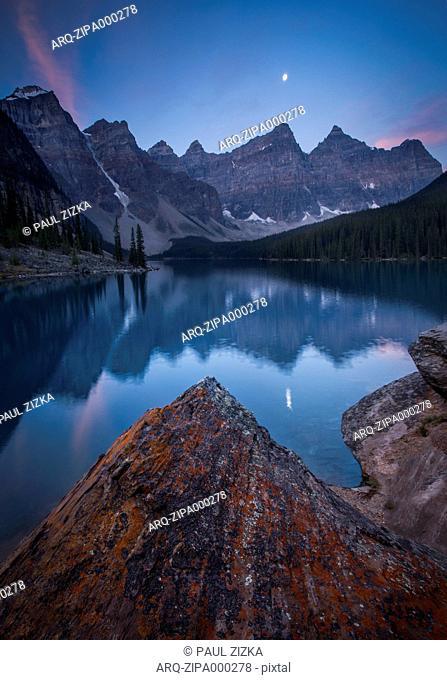 Moraine Lake During Sunrise In Alberta, Canada