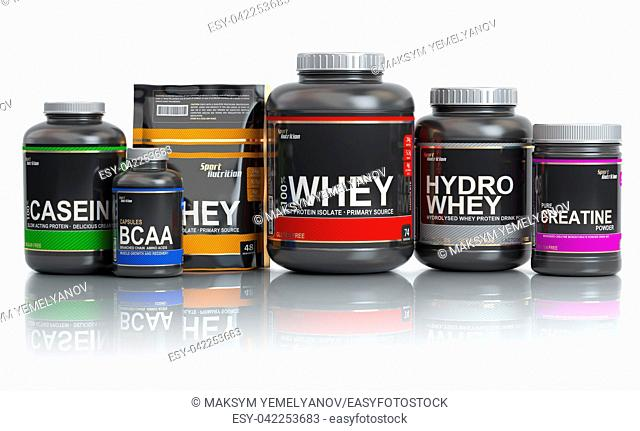 Sports nutrition (supplements) for bodybuilding. Whey protein casein, bcaa, creatine isolated on white background. 3d illustration
