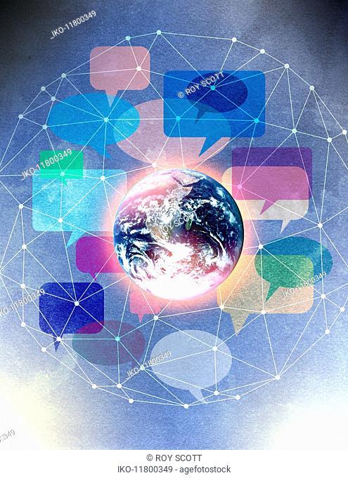 Lots of speech bubbles in network surrounding globe