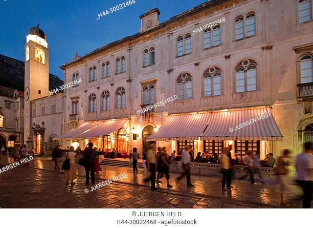 Luza Square and Sponza Palace, Old city Center of Dubrovnik in the evening , Croatia