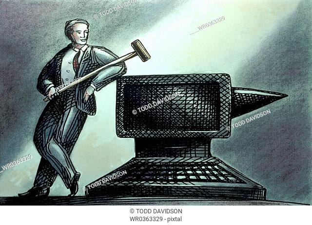 computer as anvil, man with hammer