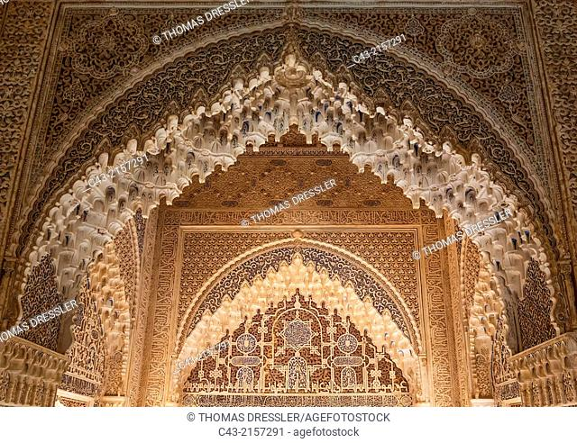 Highly artistic Moorish decoration in the Hall of the Two Sisters (Sala de las dos Hermanas) in the Alhambra palace. Granada, Granada province, Andalusia, Spain