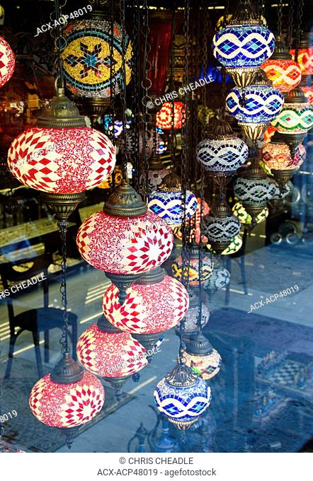 Souvenier lamps in shop, Istanbul, Turkey