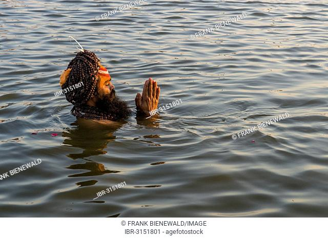 Sadhu, holy man, taking a bath and praying in the Sangam, the confluence of the rivers Ganges, Yamuna and Saraswati, just before sunset