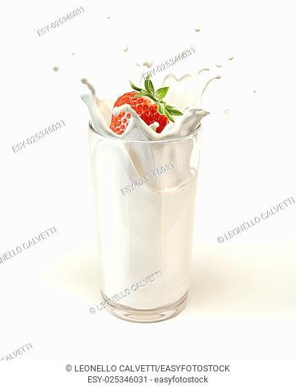 Strawberry falling into a glass of milk creating a splash. On white background