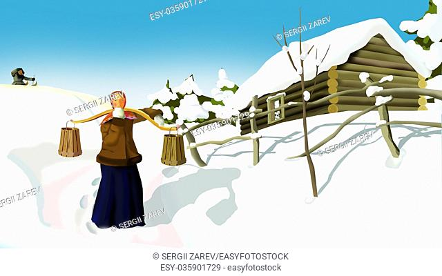 Russian Winter in a Traditional Village. A Woman with a Yoke. Handmade illustration in a classic cartoon style