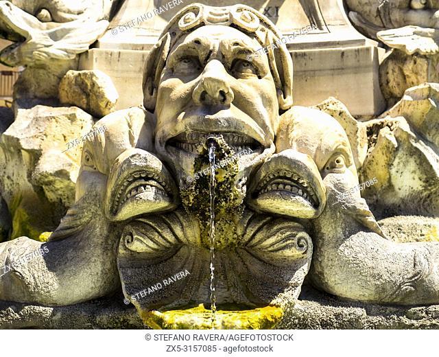 Fontana del Pantheon in piazza della Rotonda constructed by Giacomo Della Porta - Rome, Italy