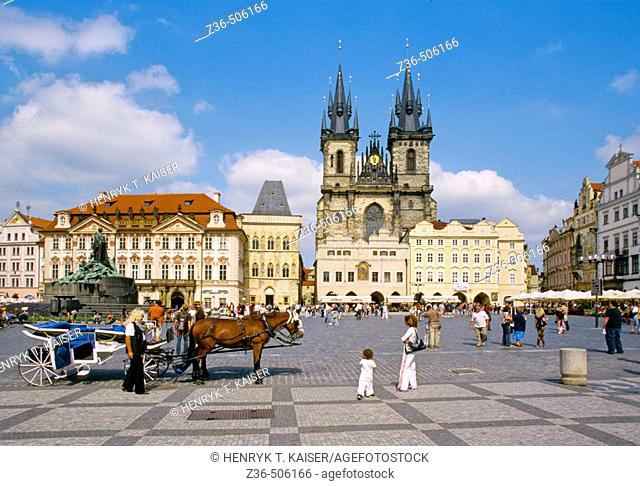 Carriages at Old Town Square in Prague, Czech Republic