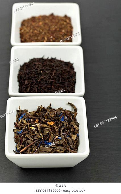 Assortment of dry tea. Selective focus