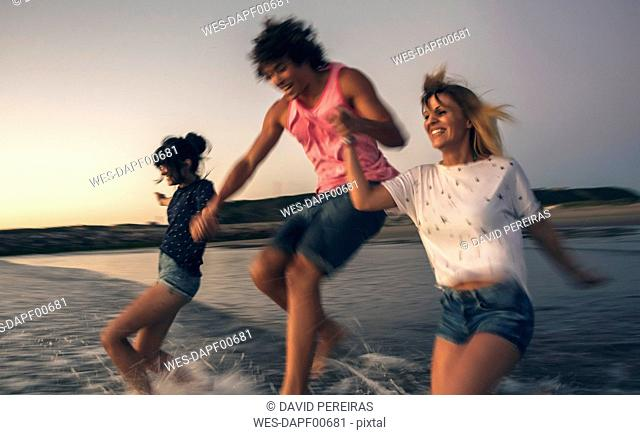 Happy friends holding hands and running into the sea at dusk