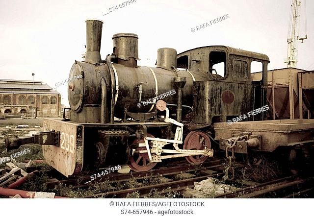 Old AHM steam locomotive, Sagunto, Valencia. Spain