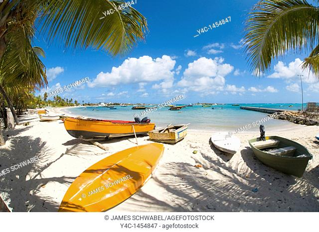 Boats in Island Harbour on the caribbean island of Anguilla in the British West Indies