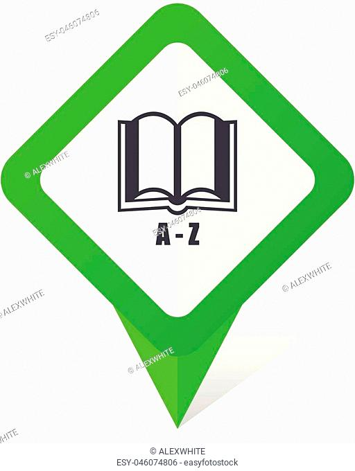 Dictionary green square pointer vector icon in eps 10 on white background with shadow