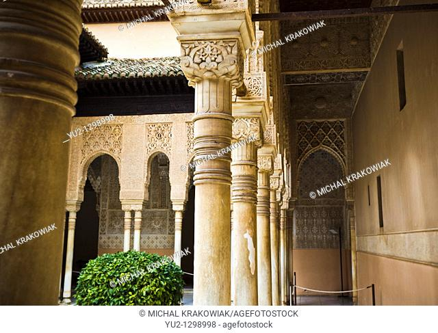 Columns on Patio of the Lions in Alhambra Granada, Spain