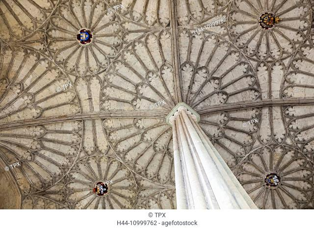 England, Oxfordshire, Oxford, Christ Church College, The Great Hall Staircase, Fan-vaulted Ceiling